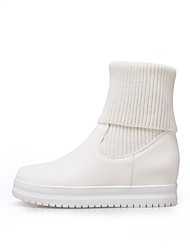 cheap -Women's Boots Platform Round Toe Casual Basic Daily Solid Colored PU Booties / Ankle Boots Walking Shoes White / Black / Beige