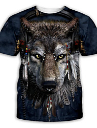 cheap -Men's Graphic T shirt 3D Print Print Short Sleeve Party Tops Exaggerated Round Neck Navy Blue