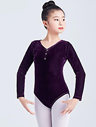 cheap -Ballet Leotard / Onesie Ruching Split Joint Crystals / Rhinestones Girls' Training Performance Long Sleeve High Polyester