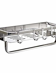 cheap -shower shelf with towel bar, wall mounted bathroom caddy organizer with hooks, stainless steel