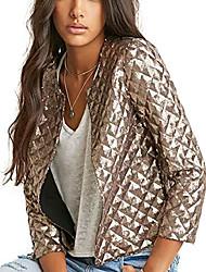 povoljno -haoduoyi ženske osnovne svjetlucave karirane šljokice kratka bikerska jakna odjeća srebrna