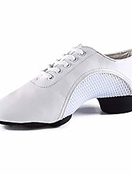 cheap -women's dance shoes ladies lace up breathable dress dancing soft leather jazz sneakers split-sole modern white
