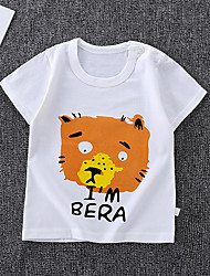 cheap -Kids Boys' Basic Tiger Animal Print Short Sleeve Tee White