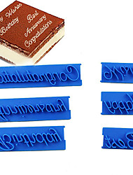 cheap -6pcs/set Handwriting Fondant Cake Embosser Plastic Letters Mold Happy Birthday Best Wishes Baking Molds Decoration Tool