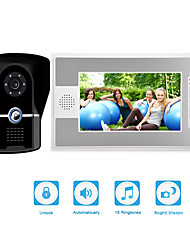 cheap -Wired 7 inch Video Doorphone with Camera Video Doorbell Intercom System IP55 Grade Rainproof with IR Nigth Vision
