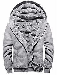 cheap -men's pullover winter fleece hoodie jackets full zip warm thick coats grey large
