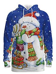 cheap -Daddy and Me Basic Snowman 3D Print Print Long Sleeve Regular Hoodie & Sweatshirt Blue