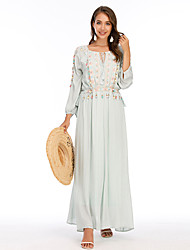 cheap -Women's A-Line Dress Midi Dress - 3/4 Length Sleeve Solid Color Tassel Fringe Summer Elegant Party 2020 White Black Yellow Orange Green S M L XL