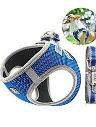 cheap -dog harness with leash set, step-in adjustable anti-slip breathable vest harness with leash set for small, medium dog cat outdoor activity accesories (blue)