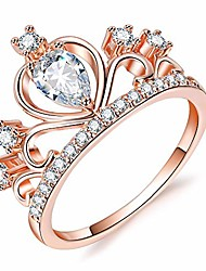 cheap -women crown rings tiara princess queen 18k rose gold plated tiny cz promise ring (bd03g, 5)