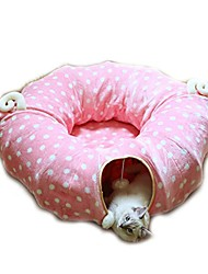 "cheap -cat tube tunnel with central mat for cat dog, soft mink cashmere and full moon shaped, length 98"" diameter 9.8"", pink"
