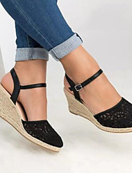 cheap -Women's Sandals Wedge Heel Round Toe Classic Daily Lace Solid Colored Nubuck Black / Pink / Beige