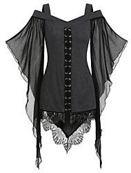 cheap -Women's Chiffon Dress Short Mini Dress - Sleeveless Solid Color Patchwork Fall Off Shoulder Sexy Halloween Loose 2020 Black Purple Green Gray S M L XXL