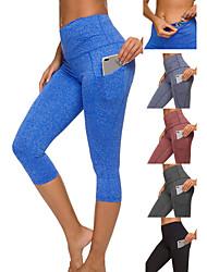 cheap -Women's High Waist Yoga Pants Multiple Pockets Capri Leggings Tummy Control Butt Lift 4 Way Stretch Wine Black Blue Spandex Fitness Gym Workout Running Sports Activewear High Elasticity / Quick Dry