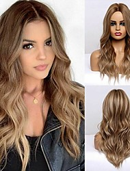 cheap -Synthetic Wig Curly Body Wave Middle Part Side Part Wig Very Long Brown Synthetic Hair 24 inch Women's Cosplay Fashion Middle Part Brown BLONDE UNICORN / African American Wig