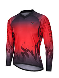 cheap -YORK TIGERS Men's Long Sleeve Cycling Jersey Downhill Jersey Black / Red Bike Tee Tshirt Sports Clothing Apparel / Advanced / Micro-elastic