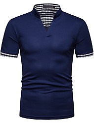 cheap -Men's Solid Color Shirt Short Sleeve Daily Tops Navy White Black / Spring / Summer / Fall