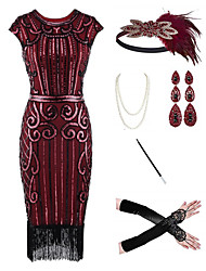 cheap -The Great Gatsby 1920s Vintage Vacation Dress Flapper Dress Outfits Masquerade Prom Dress Women's Tassel Fringe Costume Red / black / Red / White / Coral Red Vintage Cosplay Party Prom / Body Jewelry