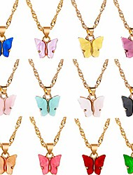 cheap -butterfly pendant necklace for women & girls acrylic necklaces jewelry set with gold-plated pack of 12 pcs