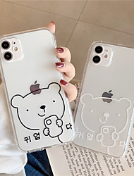 cheap -Case For Apple scene map iPhone 11 11 Pro 11 Pro Max line bear pattern high permeability TPU material air pressure drop-resistant mobile phone case