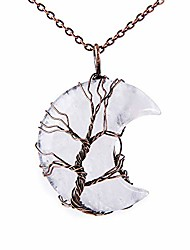 cheap -tree of life crescent moon necklace bronze copper wire wrap natural gemstones healing crystal pendant necklace(clear quartz)