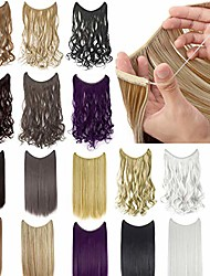 """cheap -22""""/24"""" curly straight invisible hidden, deep purple-new, size 22 inch-curly"""