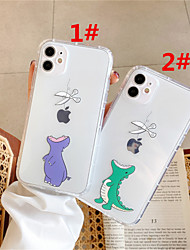 cheap -Case For Apple scene map iPhone 11 11 Pro 11 Pro Max cartoon small dinosaur pattern high permeability TPU material air pressure drop-resistant mobile phone case