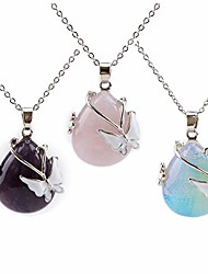 cheap -vintage wire wrap butterfly gemstone rose quartz amethyst opalite healing crystal pendant necklace