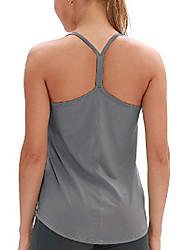 رخيصةأون -قمصان بدون أكمام للتمارين الرياضية للنساء - قمصان يوجا للتمارين الرياضية وفتحة من الخلف بأحزمة للجري (M ، رمادي)