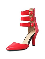 cheap -Women's Heels Stiletto Heel Pointed Toe Roman Shoes Daily PU Solid Colored Black Red Beige / 2-3