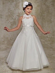 cheap -Princess / Ball Gown Floor Length Party / Wedding Flower Girl Dresses - Lace Sleeveless High Neck with Beading / Appliques