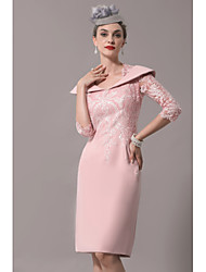cheap -Sheath / Column Mother of the Bride Dress Elegant Plus Size See Through Queen Anne Knee Length Polyester Half Sleeve with Sequin 2020 Mother of the groom dresses