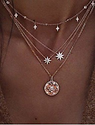 cheap -boho star necklaces summer beach choker pendant necklace chain fashion jewelry for women and girls (silver)