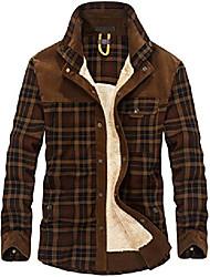 cheap -men's cotton shirt jacket button down shirts casual corduroy thicken fleece shirt coat coffee l