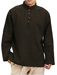 cheap -Men's Casual Shirt Solid Color Tops 100% Cotton Light Blue Apricot Black / Fall