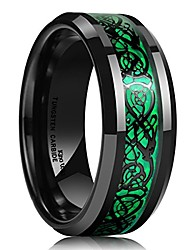 cheap -dragon ring men's 8mm green carbon fiber black celtic dragon tungsten carbide ring comfort