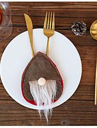 cheap -Christmas Santa Claus Nordic Egg-shaped Decorations Cutlery Set Faceless Baby Non Woven Cutlery Set