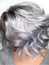 cheap -Synthetic Wig Curly kinky Straight Pixie Cut Wig Short Silver grey Synthetic Hair 14 inch Women's Fashionable Design Easy to Carry Comfy Silver