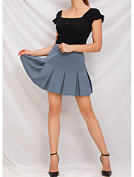 cheap -Women's Casual / Daily Basic Skirts Solid Colored Pleated White Black Blue / Mini / Loose