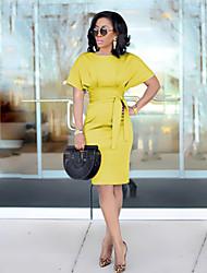 cheap -Women's Sheath Dress Knee Length Dress - Short Sleeve Solid Color Patchwork Summer Plus Size Sexy Party Skinny 2020 Black Purple Yellow Green Light Blue S M L XL XXL 3XL