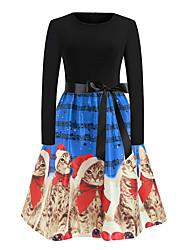 cheap -Women's A Line Dress Knee Length Dress Red Green Royal Blue Light Blue Long Sleeve Print Print Fall Round Neck Elegant Christmas 2021 S M L XL XXL