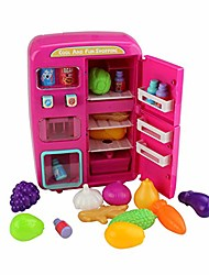 cheap -31 pcs portable role play set kitchen toy vending refrigerator with fog sound light pretend cooking kit gift for children 3 years old and up cute house doll kitchen girls boys (red)