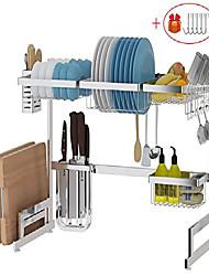 cheap -over sink dish drying rack, drainer shelf for kitchen supplies storage, counter organizer, utensils holder, 2 tier for kitchen countertop, rustless stainless steel (silver)