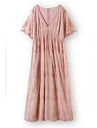 cheap -Sheath / Column Minimalist Boho Holiday Party Wear Dress V Neck Short Sleeve Ankle Length Lace with Pleats 2021