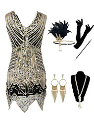 cheap -The Great Gatsby Vintage 1920s Vacation Dress Flapper Dress Outfits Masquerade Women's Costume Golden Vintage Cosplay Party Prom / Gloves / Headwear / Necklace / Earrings / Cigarette Stick