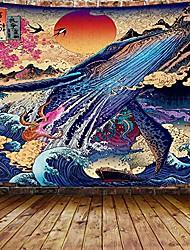 cheap -Japanese Painting Style Ukiyo-e Wall Tapestry Art Decor Blanket Curtain Hanging Home Bedroom Living Room Decoration Ukiyo-e Whale Snake Deer Animal Sea Ocean Wave Mountian Crane