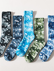 cheap -Athletic Sports Socks 5 Pairs Cushion Tie Dye Men's Crew Socks Tube Socks Breathable Sweat-wicking Comfortable Gym Workout Basketball Running Active Training Skateboarding Sports Stars Colorful Cotton