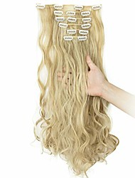 cheap -clip in hair extensions 7pcs 16 clips curly wavy straight thick clip on synthetic hair extension hairpieces