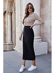 cheap -Women's Casual / Daily Basic Pencil Skirts Solid Colored Black / Slim