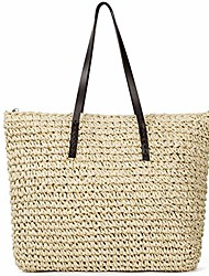 cheap -Bags Straw Bag Bohemian Style Handbags dark brown White Light Brown Beige